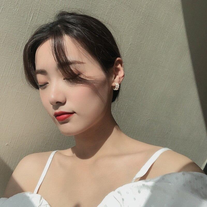 Korean Hollow Trapezoidal Sheet Zircon Stud Earrings For Women Elegant Circle Boucle D'oreille Oorbellen Sweet Jewelry