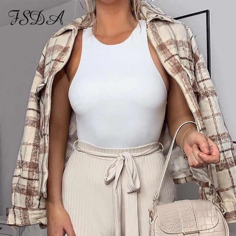 FSDA O 넥 여름 민소매 섹시한 바디 슈트 여성 2020 오프 숄더 바디 탑스 Streetwear 캐주얼 화이트 바디 슈트