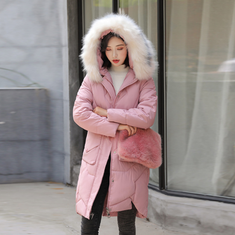Female Long Cotton Coat 2019 Autumn Large Size Fur Collar Hooded Casual Warm Thick Winter Student   Parkas   Women Winter Tops