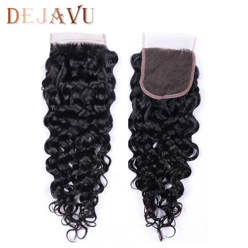 Dejavu Deep Wave Closure Non-Remy 4x4 Middle Brown Natural Color Closure Brazilian Hair Preplucked Swiss Lace Closure Capelli