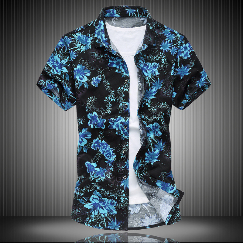 Western Style Men'S Wear Plus-sized Summer Youth Short-sleeved Shirt Middle-aged Daddy Clothes Tops Printed Cardigan