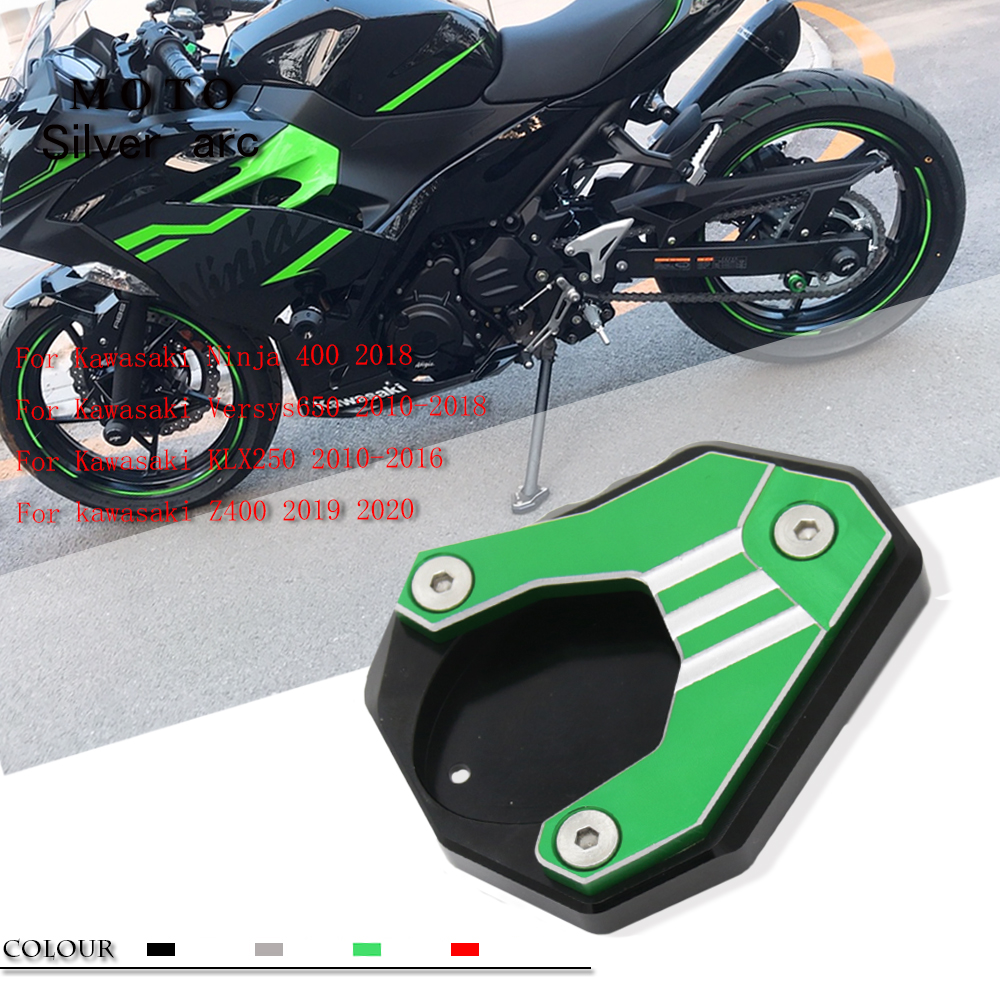 For Kawasaki <font><b>Ninja</b></font> <font><b>400</b></font> z400 Versys650 Versysmotorcycle stand <font><b>kickstand</b></font> Extension pad plate Lateral support CNC enlarger aluminum image