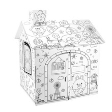 DIY Large Cardboard Coloring Creative Crafts Play House Project Assemble and Paint Educational Toys 2.2 Feet Tall For Kids