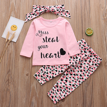 baby boy clothes 2020 autumn baby girl clothing sets newborn cotton printed long sleeved t shirt pants cap kids 3pcs suit Newborn Baby Girls Clothes Autumn Cotton Letter 3Pcs Outfits Set Long Sleeve T-shirt Pants Headband Infant Toddler Clothing Suit