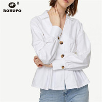ROHOPO Women Autumn White Cotton Blouse V Collar Lantern Sleeve Pleated Ruffles Chic Solid Top Ladies Shirt #9221