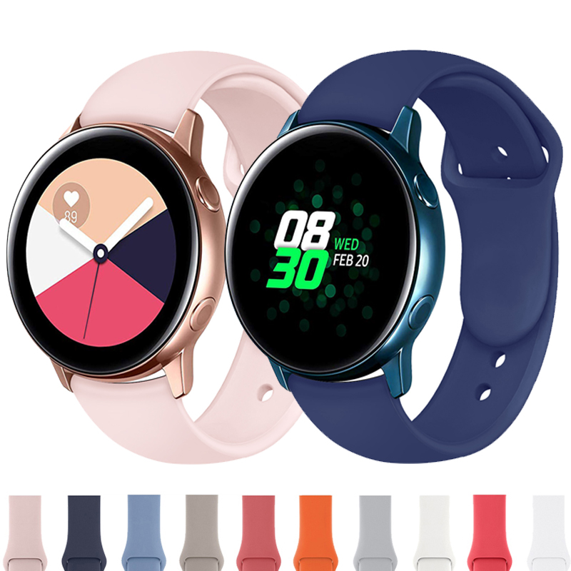 Ремешок 20 мм для часов Samsung Galaxy watch Active 2 44 мм 40 мм Gear S2/Sport Soft Amazfit bip gtr samsung galaxy watch 3 41 мм 42 мм