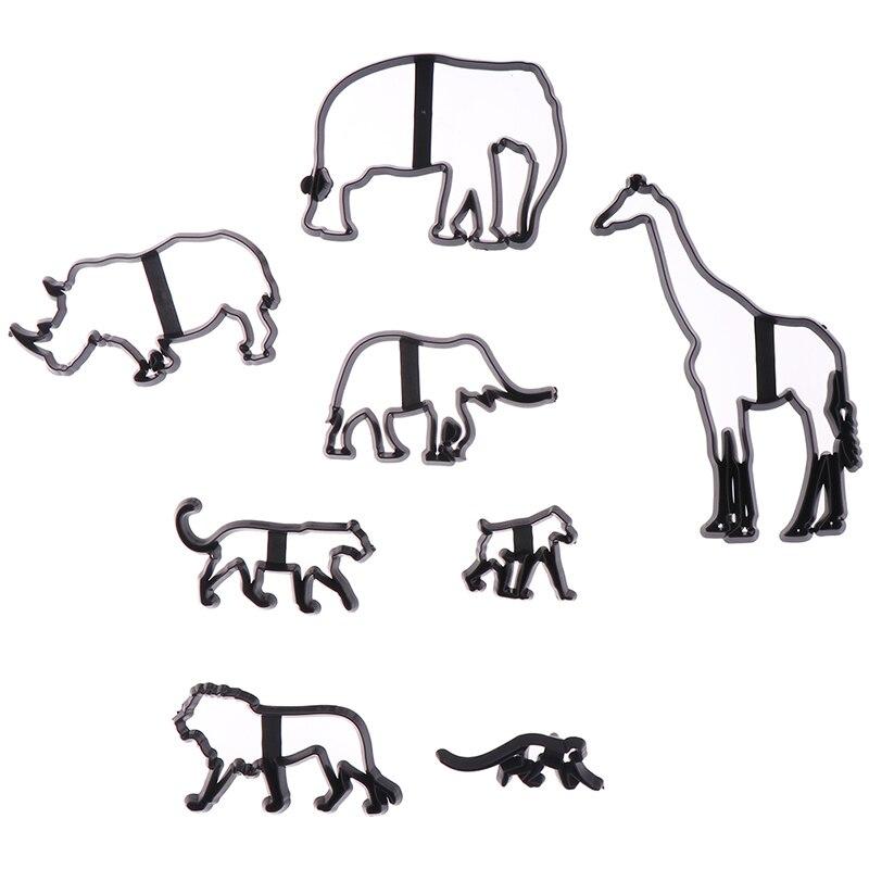 8 шт. резак для печенья животных пластиковый слон Лев Жираф Леопард помадка резак сафари силуэт торт плесень украшения торта инструменты