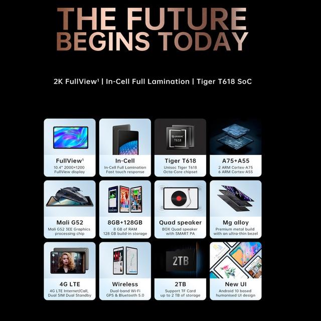 ALLDOCUBE iPlay 40 Tablet 10.4 Inch 8GB Ram 128GB Rom Tablet Android 10.0 Dual Sim Cards 2000*1200 IPS Unisoc T618 6000mAh BT5.0 4
