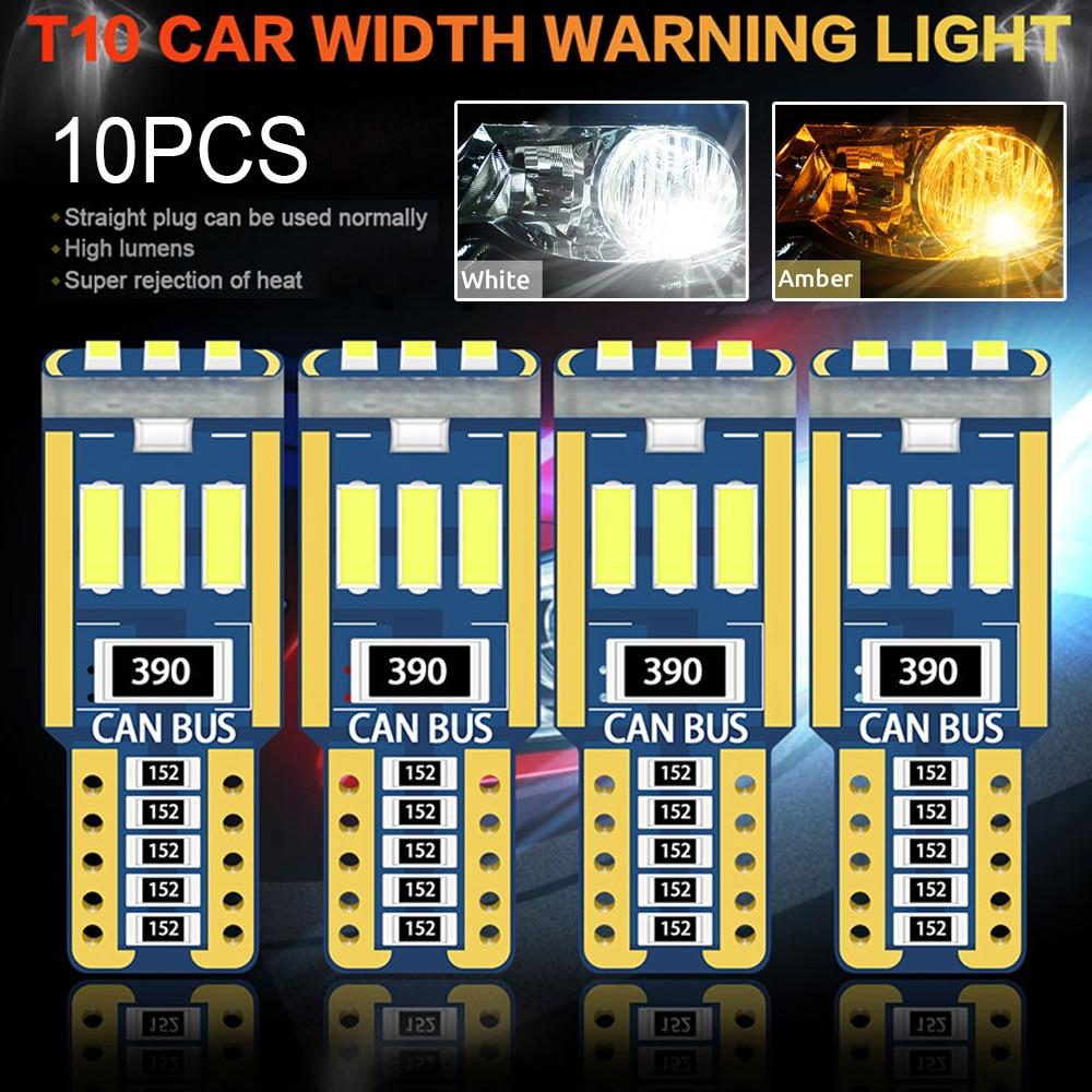 10 шт. T10 Led Canbus W5W Светодиодная лампа для салона автомобиля светильник 9led 4014smd 194 168 без ошибки чтения купол светильник приборная плита Лампа ...