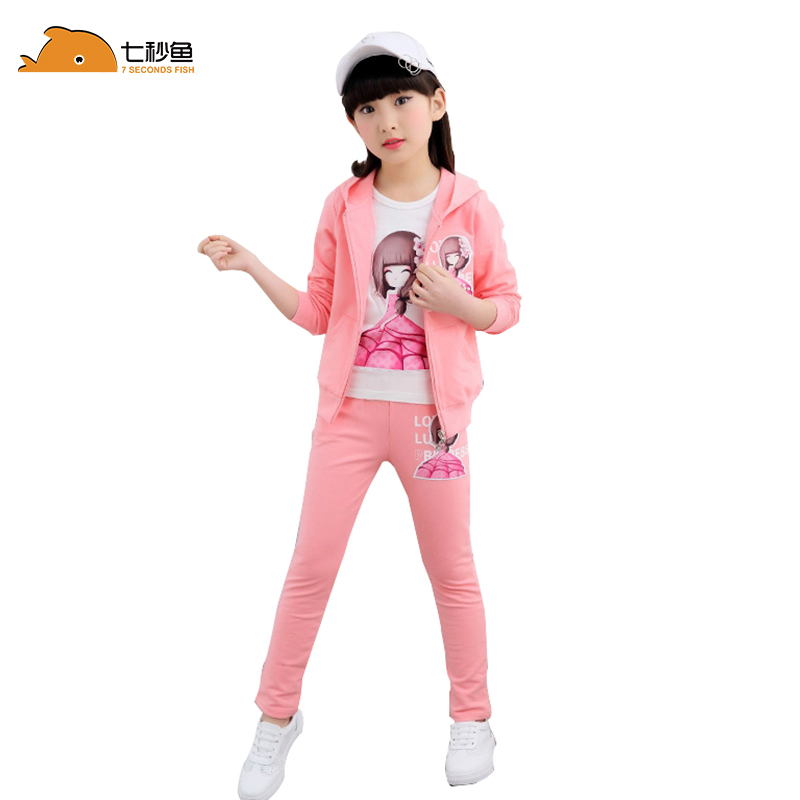 girls clothing set autumn  2019 outfits sport kids tracksuit children 6 8 10 12 14 years 2 piece