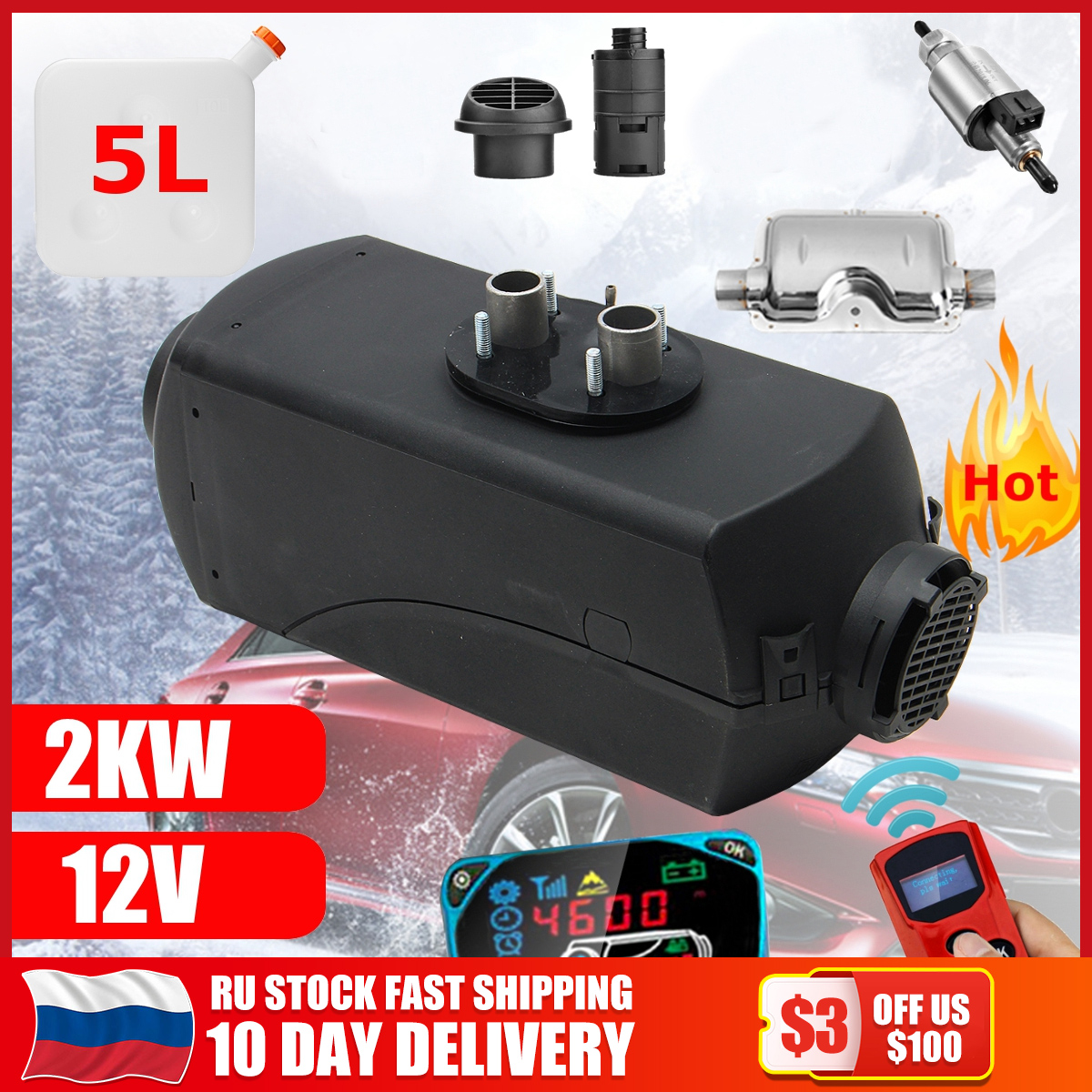 12V 2KW Car Diesels Air Parking Heater Car Heater LCD Remote Control Monitor Switch + Silencer for Trucks Bus Trailer Heater(China)