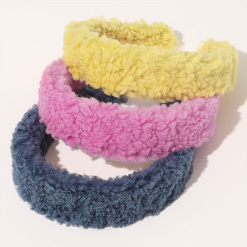 Padded Solid Halo Oval Fuzzy Faux Fur Ladies Headband Hair Band Big Lamb Wool Headband for Girls Hair Hoop Hair Accessories image