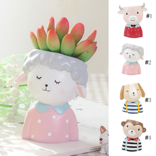 Statue Flower Planter Flowerpot Cartoon Animals Resin Desktop Ornament Office Cute Balcony Vase Bonsai Plant Pots Home Decor