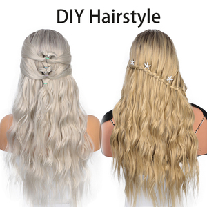 Image 4 - AISI HAIR Long Womens Wigs Ombre Platinum Blonde Wigs Heat Resistant Part Side Synthetic Wavy Wigs for African American Women