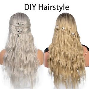 Image 4 - Aisi Capelli Lunghi Delle Donne Parrucche Ombre Platinum Blonde Parrucche Resistente Al Calore Lato Parte Sintetiche Ondulate Parrucche per Le Donne Afro americane