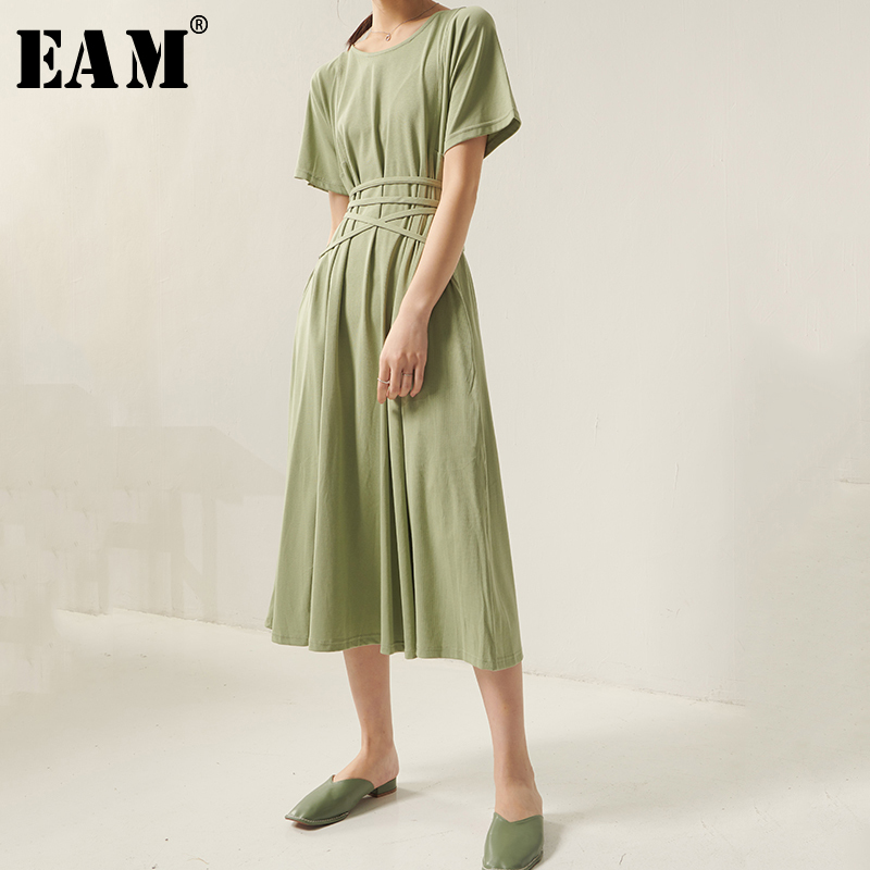 [EAM] Women Green Bandage Brief Temperament Dress New Round Neck Short Sleeve Loose Fit Fashion Tide Spring Summer 2020 1S946