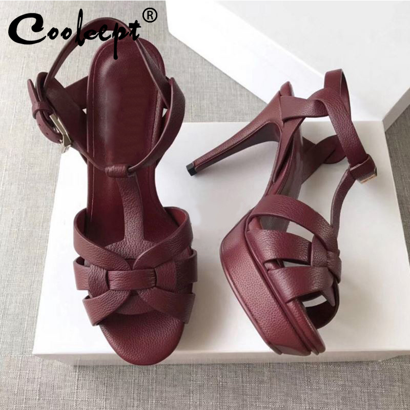 Women Genuine Leather High Heels Sandals Bling Summer Shoes Women Party Wedding Elegant Office Lady Footwear Size 34-39