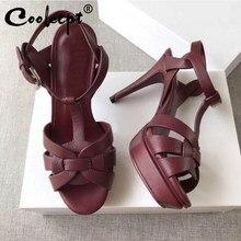 Coolcept sandálias femininas de couro genuíno, sapatos de marca em plataforma alta, sensual, calçados para casamento, tamanho 33-40