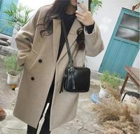 High quality!Women's autumn winter Korea plus size slim long coat female pure color outware chic double breasted Blouse TB3318