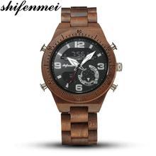 Shifenmei Wooden Watches Men Sport Mens Quartz Clock Casual Military Army Digital Watch Man relogio masculino 5562