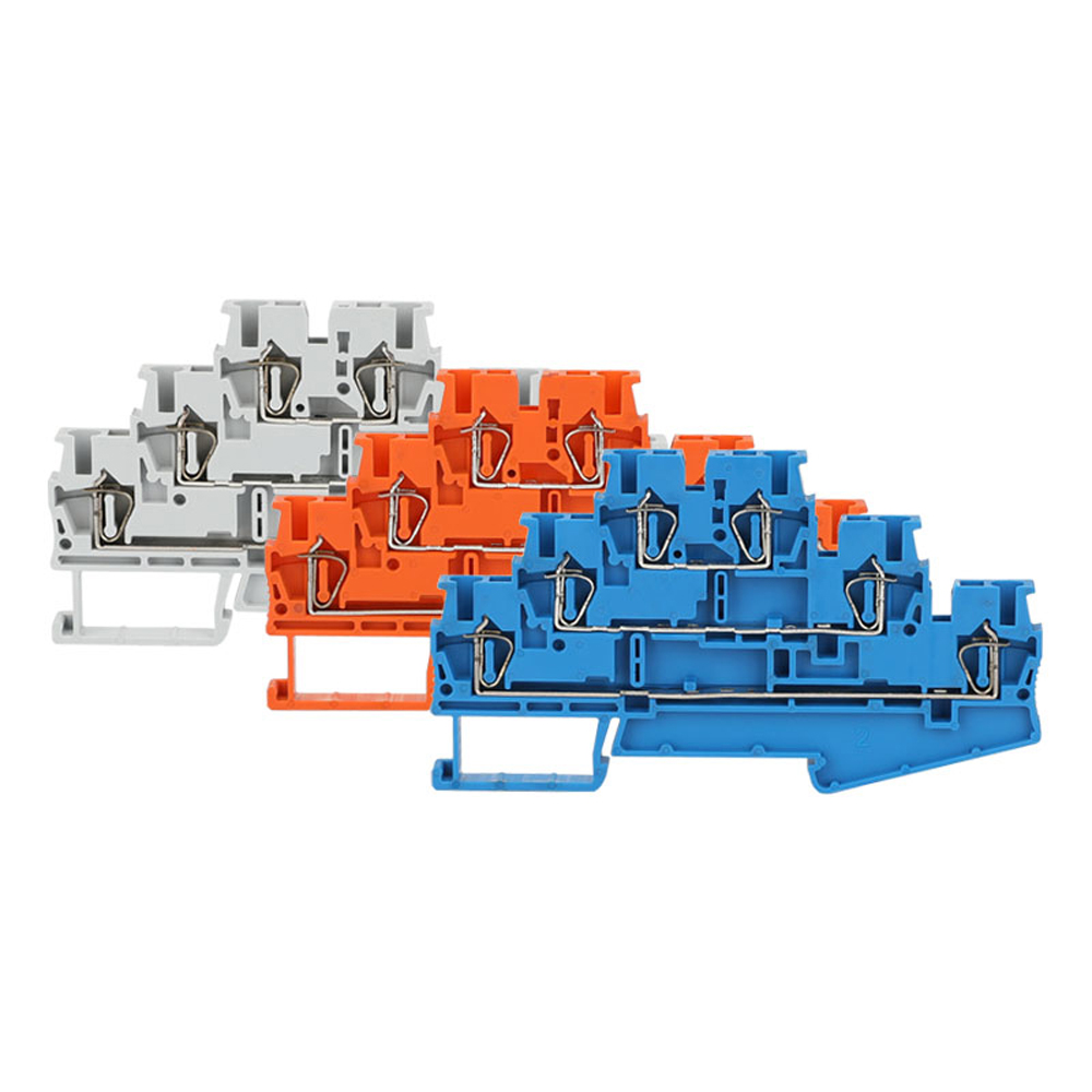 Spring Terminal Block 10Pcs ST-2.5-3L Din Rail 3 Layer Screwless Connection Connector Return Pull Type Wire Conductor ST2.5-3L