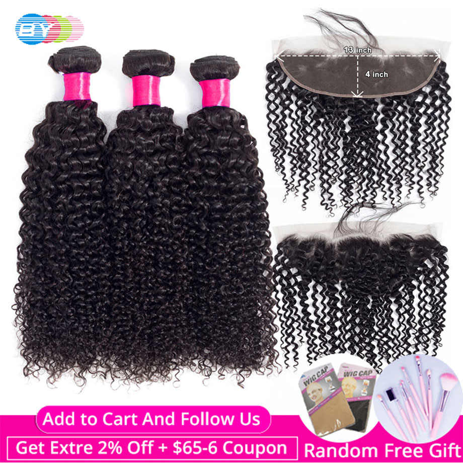"BY Brazilian kinky Curly Bundles With Lace Frontal Closure Free Part 13""x4"" Swiss Lace Remy Human Hair Bundles With Closure"