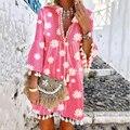 Женское летнее платье с длинным рукавом, Элегантное повседневное платье макси с хризантемой и кисточками, 2020