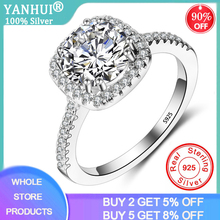 YANHUI Luxury 1.5ct Lab Diamond Wedding Engagement Rings for Bride 100% Real 925 Sterling Silver Rings Women Fine Jewelry RX063 yanhui silver 925 jewelry eternity 1 carat lab diamond wedding rings luxury original 925 silver rings gift for women jz068
