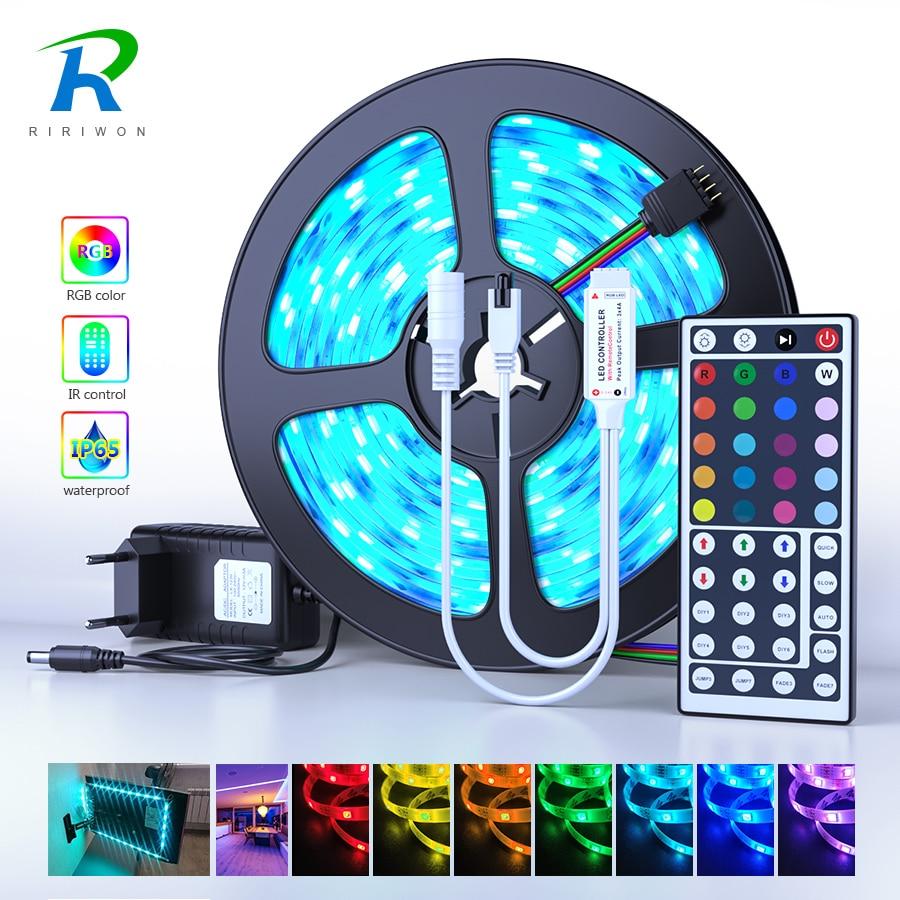 Светодиодный RGB ленточный светильник 2835 5050 SMD светодиодный диодный гибкий не водонепроницаемый светодиодный ленточный источник питания dc12v...