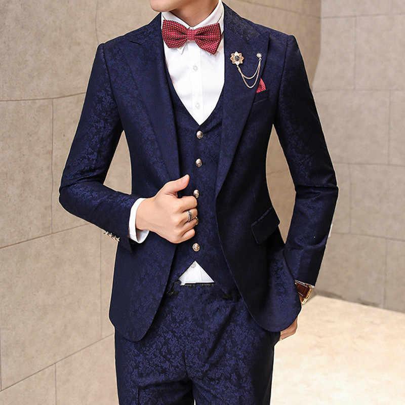 男性スーツ結婚式新郎のための男性ブルゴーニュ花ジャカードスリムフィット 3 ピース/セット (ジャケット + ベスト + パンツ)