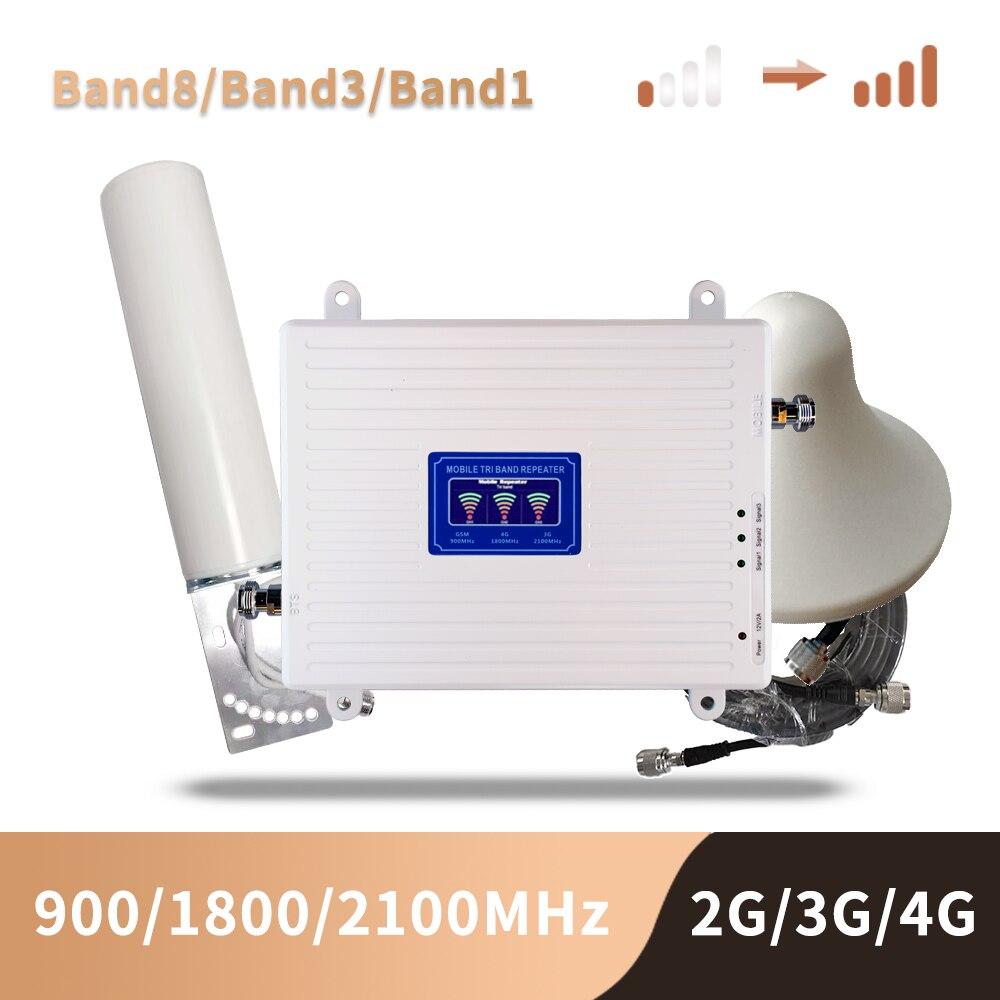 Cep telefonları ve Telekomünikasyon Ürünleri'ten Sinyal Arttırıcılar'de Mobil amplifikatör tri bant tekrarlayıcı 900 1800 2100 GSM tekrarlayıcı DCS WCDMA 2G 3G 4G tekrarlayıcı LTE hücresel sinyal güçlendirici title=