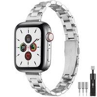 Correa de acero inoxidable para Apple Watch 6 SE, 40mm, 44mm, pulsera de eslabones de Metal delgada para iWatch Series 5/4/3/2 38mm 42mm