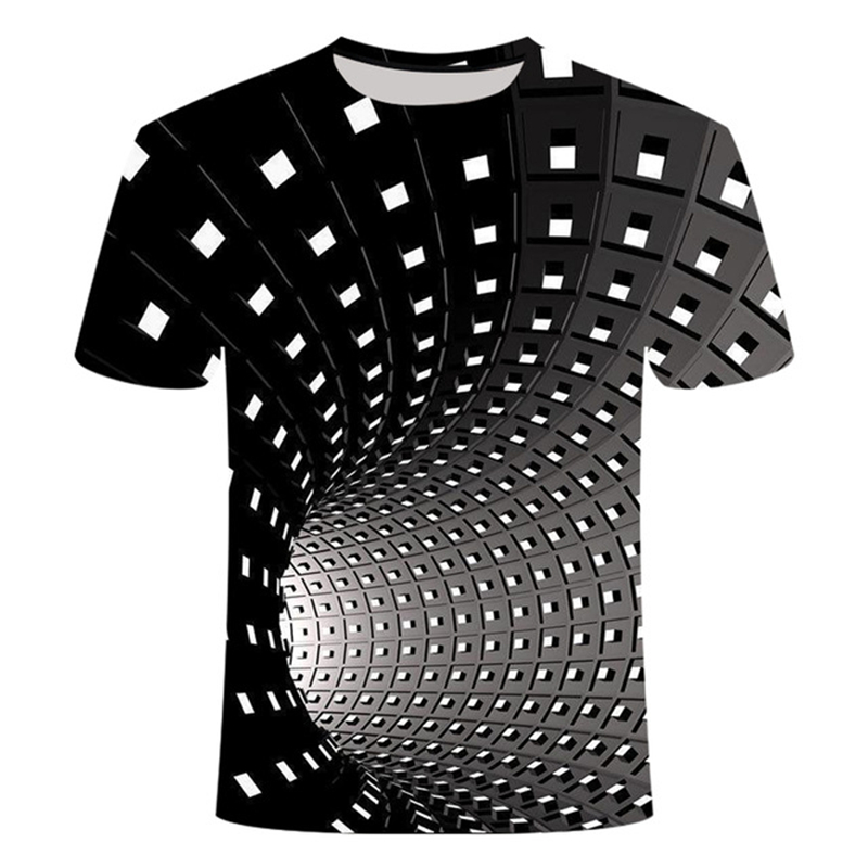 New Fashion Men T-shirt 3D Vertigo Hypnotic T Shirt Super Cool T Shirt Summer Harajuku Short-sleeved Funny 3D Pattern T Shirt