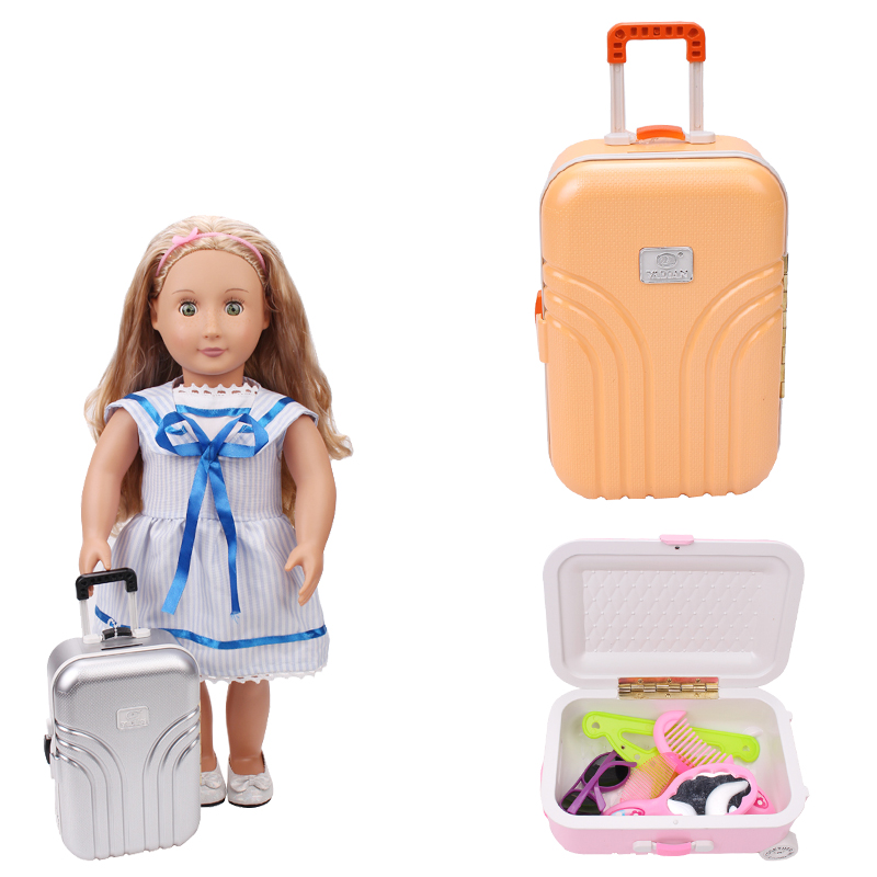 18 inch Girls doll suitcase American newborn Mini plastic luggage Baby toys accessories fit 43 cm baby dolls c514