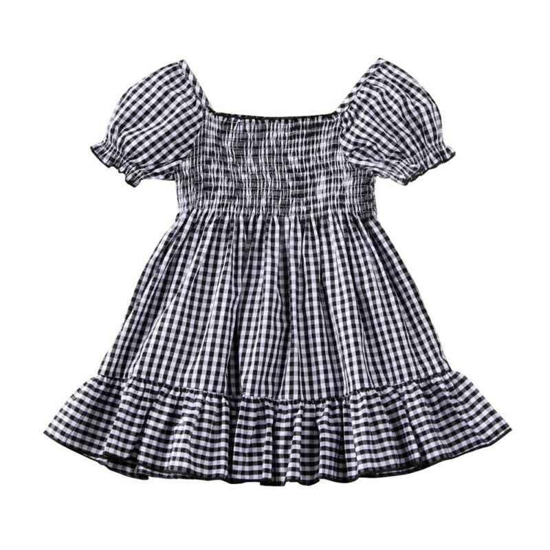 1-5Y Balita Bayi Anak Gadis Hitam Plaid Gaun Musim Panas Kasual Bergaris Off Bahu Gaun untuk Anak Perempuan Anak Kostum
