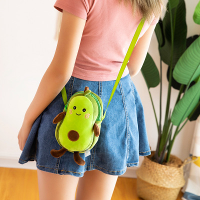 Cartoon Avocado Plush Kawaii Toys Soft Stuffed Fruits Creative New Female Mulit Style Shoulder Bag For Children Kids Gift Toys