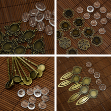 Vintage Mixed Shapes Charm Pendant Base Setting Blank Bezel Tray With Glass Cabochon Cameo For DIY Jewelry Making Supplies 18x25mm round glass cabochon base setting pendant tray for jewelry diy making diy accessories for jewelry