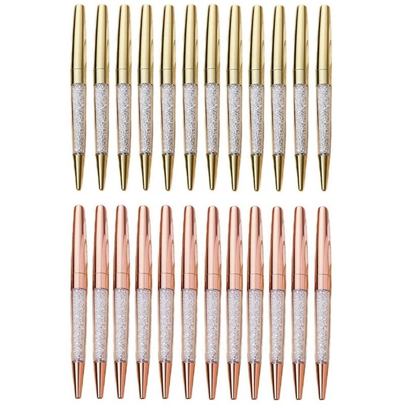 100Pcs/Lot Rose Gold Pen Bling Diamond Pens Fine Black Ink Crystal Ballpoint Pen Ring Wedding Office Metal Roller Ball Pen Gift