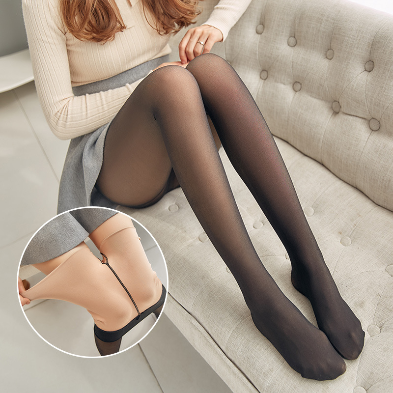 1Pcs Black Autumn Winter Thick Warm Tights Plus Velvet Imitation Skin Hosiery Collants For Women Elastic Winter Thick Pantyhose