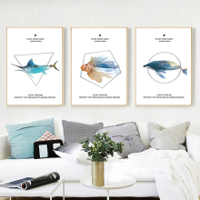 Yuke Art Modern Painting Fish Canvas Painting Nordic Style Ocean Fish Paintings Wall Picture For Living Room Home Decoration
