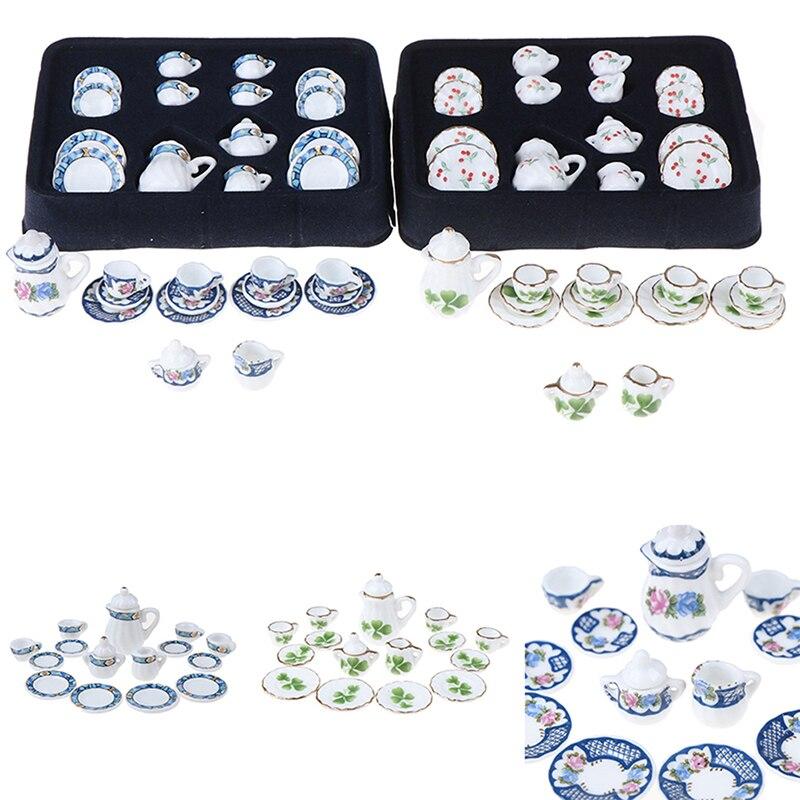 15Pcs/set 1:12 Miniature 15pcs Porcelain Tea Cup Set Chintz Flower Tableware Kitchen Dollhouse Doll House Accessories