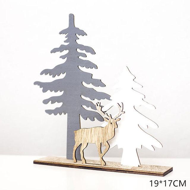 2020 New Year Natural Xmas Elk Wood Craft