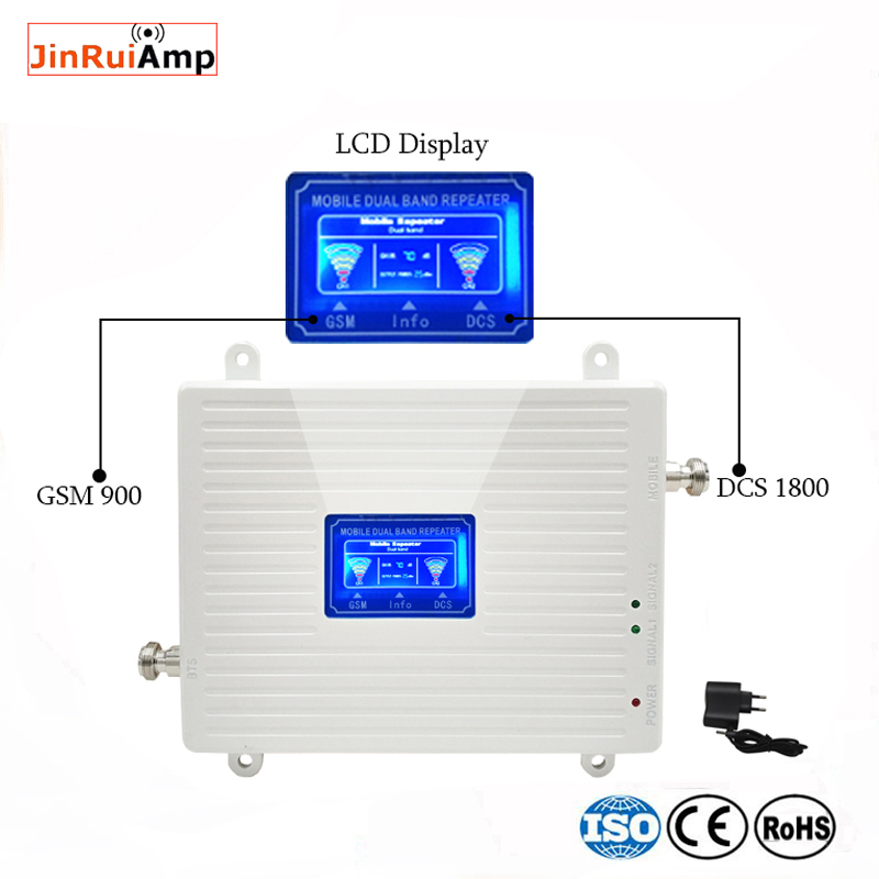 LCD Display GSM 900 1800 Mhz Dual Band Repeater Gsm 2G 4G LTE Repeater Mobile Phone Amplifier Cellular Signal Booster