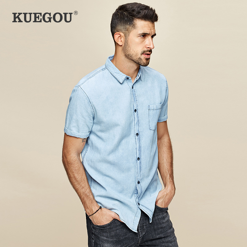 KUEGOU 2020 Summer 100% Cotton Denim Shirt Men Dress Casual Slim Fit Short Sleeve Streetwear For Male Fashion Brand Clothes 648
