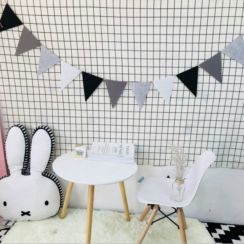 INS Hot Nodic DIY Macaron Color Party Flags Kids Handmade Infant Baby Room Decoration Photography Props Baby Stuff Bumpers Crib