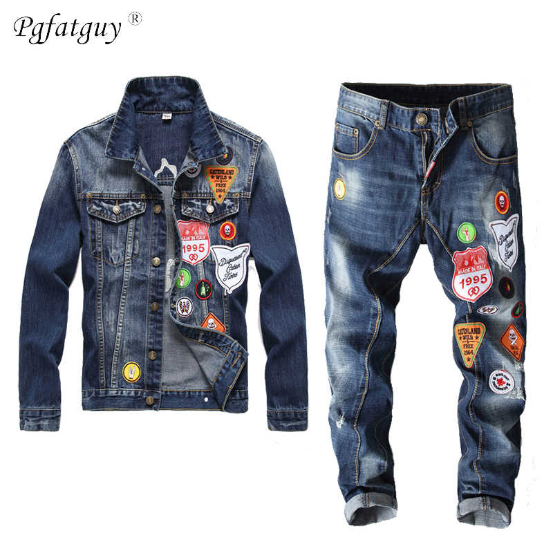 Vintage Denim Jassen Jeans Sets Mannen Slim Wit Esdoornblad Badge Jacket + Geborduurde Multi-Badge Jeans 2 delige Set Streetwear