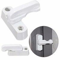 1 pçs branco janela fechadura da porta sash segurança swing lock trava casa habitação com segurança abertura + fechamento alça de plástico|Fechaduras de portas| |  -
