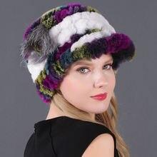 Женская меховая шапка 2020 зимняя из натурального кролика Рекс