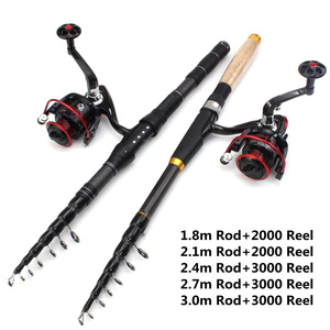Image 2 - 1.8m 2.1m 2.4m 2.7m 3.0m Carbon Fiber Telescopic Fishing Rod Portable Spinning Rod and Spinning Reels Multifunction set