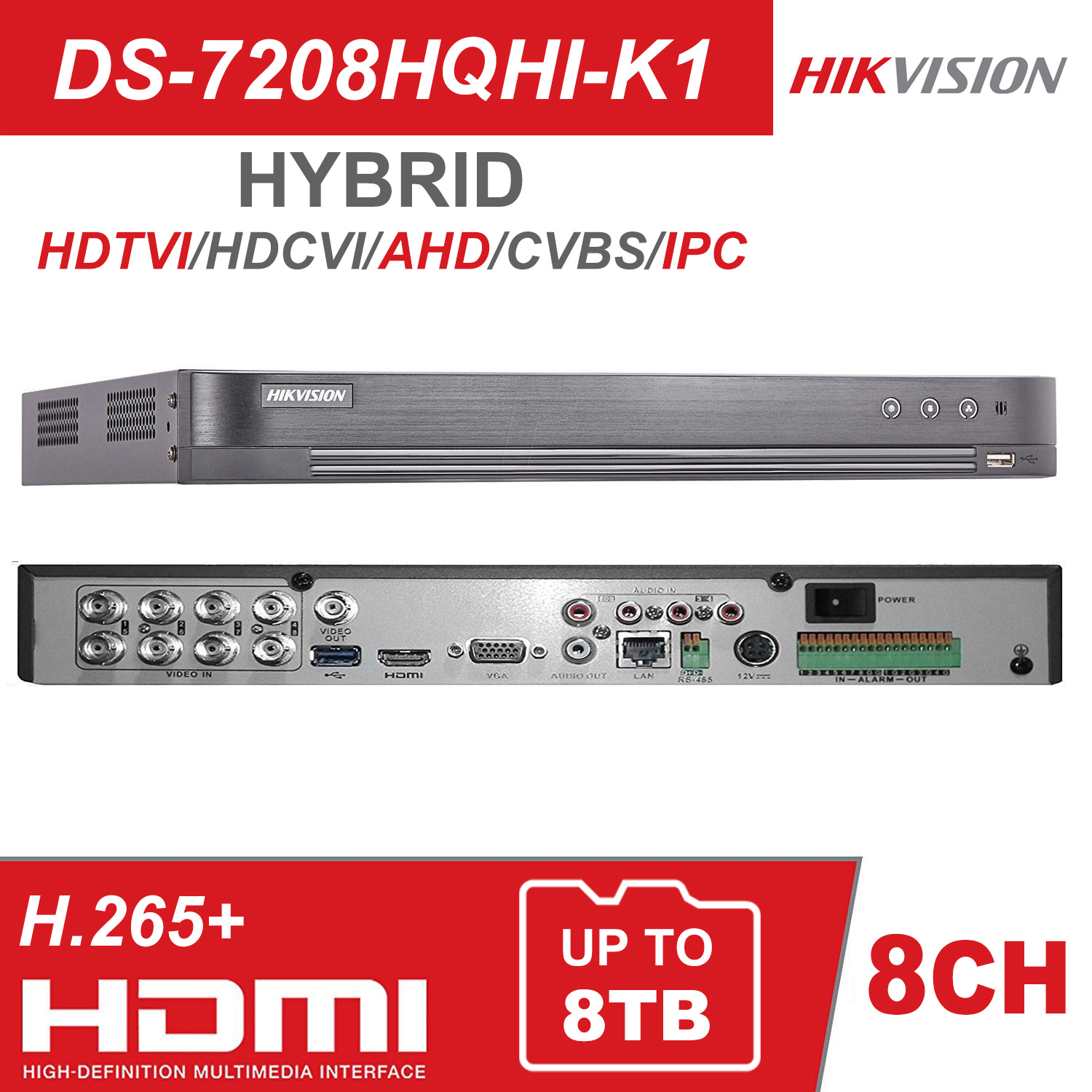 Hikvision Hybrid 4/8/16CH DVR DS-7204/08/16HQHI-K1 5 IN 1(HDTVI/AHD/CVI/CVBS/IP) H.265 Pro+ Digital Video Recorder 1HDD Support